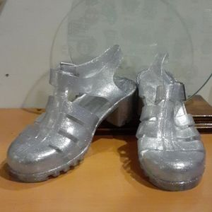 Bamboo Silver Jelly  Mary Jane Glitter Shoes  10
